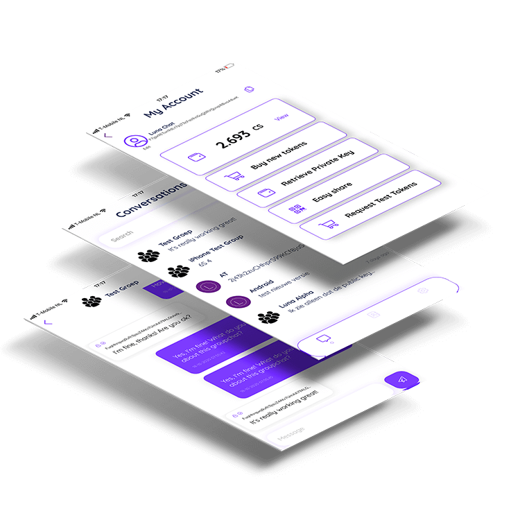 Welcome at Luna Chat. Database free chat app based on the Credits Blockchain. No thirdparty involved with your data!